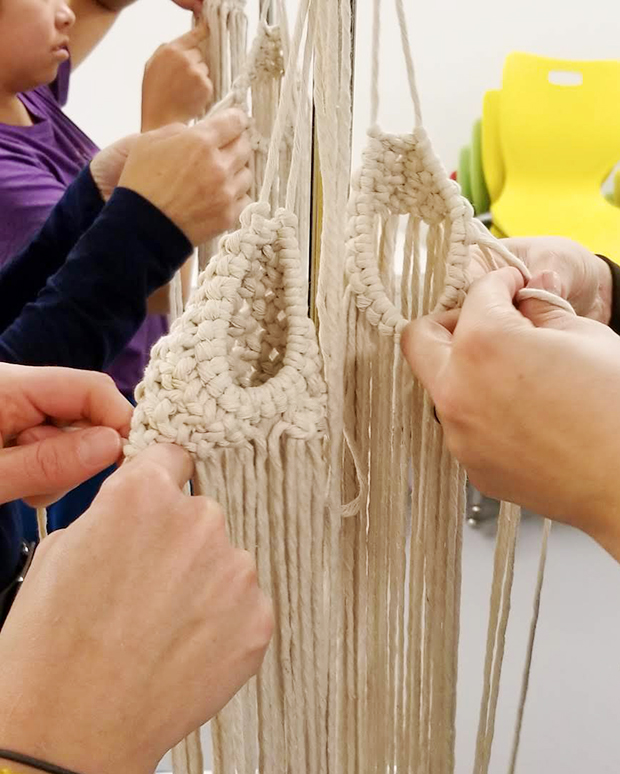 Fibre artist Laura Dyer's macrame workshop at the Tett Centre