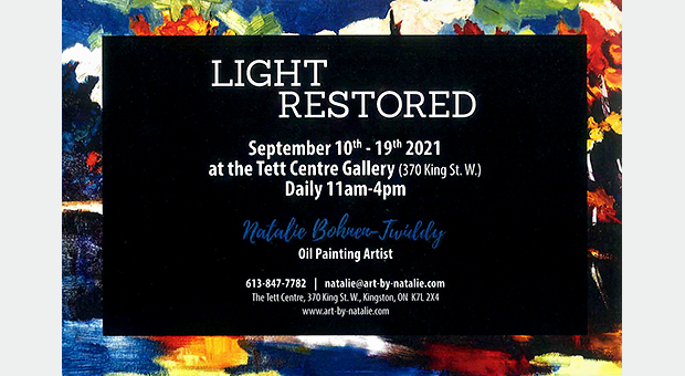 A poster for Natalie Bohnen-Twiddy's solo show, Light Restored