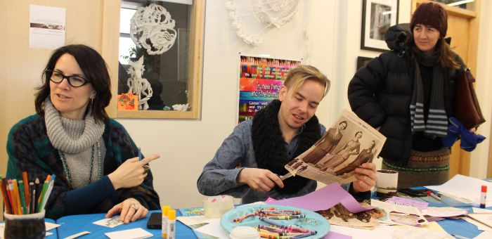 rtist Brock Jones Clow leads a workshop in collage. (Left) Community engagement coordinator Shannon Brown.