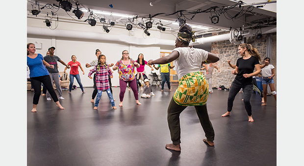 Abena Beloved Green teaches an Afrisa dance workshop in the Rehearsal Hall