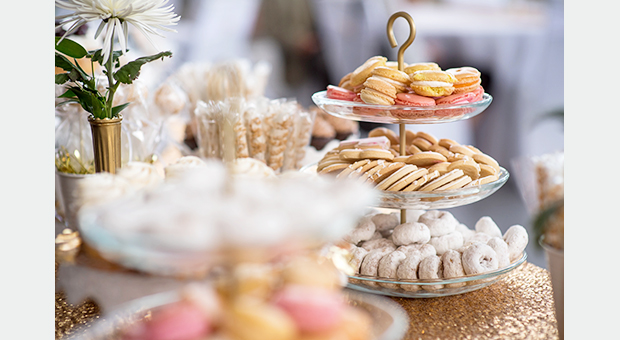 A dessert table during a reception in the Malting Tower at the Tett Centre