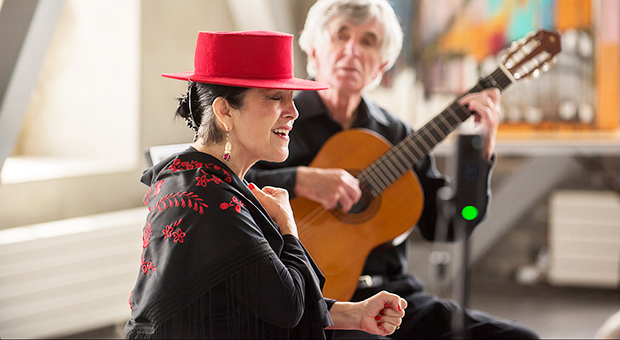 A Flamenco musical performance in the Malting Tower at the Tett Centre.