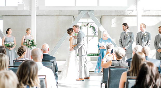 The kiss at a wedding ceremony in the Malting Tower at the Tett Centre in Kingston, Ontario