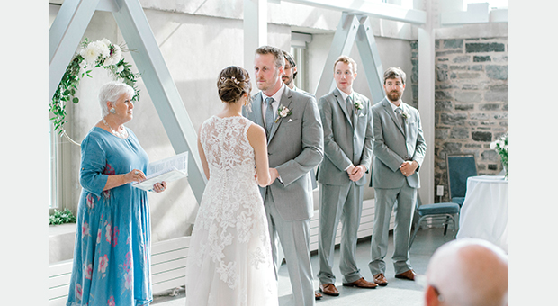 A wedding ceremony in the Malting Tower at the Tett Centre in Kingston, Ontario