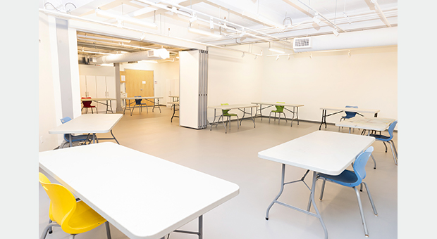Furniture set up in the King Street West side of the Gallery with physical distancing measures in place.
