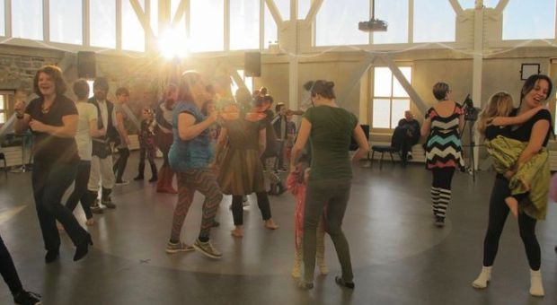 The Dawn Shaker Dance Party kicks off at 6:30 a.m., bringing sunshine and groovy tunes for the families in attendance at the Family Day celebrations at the Tett Centre for Creativity and Learning on Monday. (Rachel Levy-McLaughlin/For The Whig-Standard)