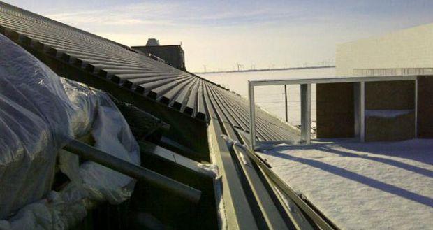 Steel decking on west roof slope
