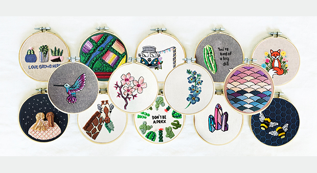 Artist Rebecca MacDonald's embroidery hoop display patterns