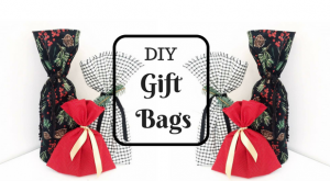 colouful holiday gift bags with text