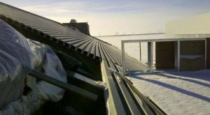 Steel decking on west roof slope