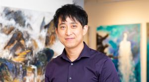 Artist Pengyuan Wang at his 2019 solo exhibition at the Tett Centre