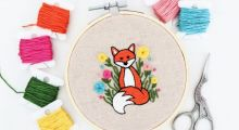 This image is of Rebecca MacDonald's fox embroidery workshop at the Tett Centre on March 20, 2021