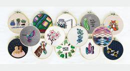 Artist Rebecca MacDonald's embroidery hoop display patterns